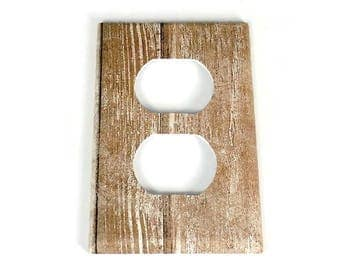 Outlet Switchplate  Light Switch Cover  Switch Plate in Whitewash (284O)