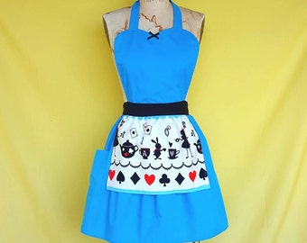ALICE in WONDERLAND apron  .... Retro 50s Apron sexy hostess bridal shower gift and is vintage inspired womens flirty costume full aprons