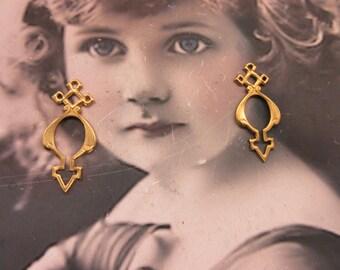 Raw Brass Ornate Brass Gothic Jewelry Connectors 106RAW  x2