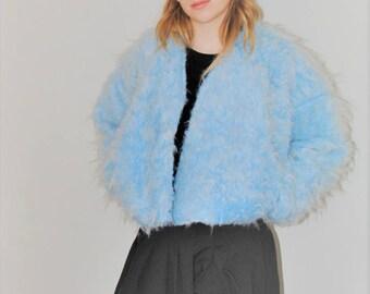 shaggy blue fur coat handmade 90s style club kid kawaii powder blue faux fur jacket