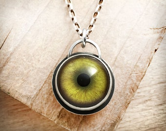 Leopard necklace, eyeball necklace, taxidermy eye, Leopard jewelry, green glass eye, sterling silver cat eye pendant, gift for her