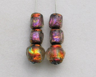 6 Pack Winging It Series Basha Beads, Tiny Red/Fuchsia Handmade Lampwork Glass, Organic, Bright Colorful Statement Art Beads, Antique Look