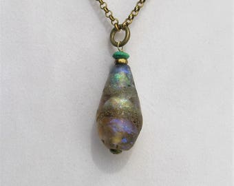 "Winging It Series Basha Bead, Kawabonga Blue/Gold/Turquoise Focal on a 36"" Brass Chain,Handmade Lampwork Glass, Organic, Statement Art Beads"