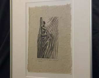 FRAMED Original Woodcut Classic Female Pose Princess Seated in Throne Handmade Paper LE
