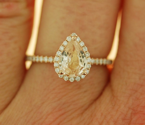 Pear cut sapphire ring. 1.05ct Peach champagne sapphire ring. 14k rose gold diamond ring engagement ring