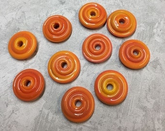 Festive Coral Wavy Disks Handmade Lampwork Glass Beads by LGL Beads Set of 10 Spacers Wavy Orange Spacers 9mm x 5mm