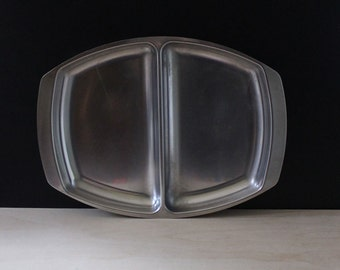 Kalmar Danish modern divided platter dish, stainless steel. Scandinavian design.