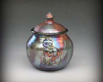 Raku Pet Urn with Cat in Metallic and Iridescent Colors