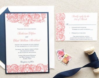 Navy and Coral Wedding Invitation - Thermography - Sample