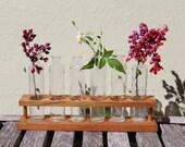 VINTAGE bottles in wood holder.  Tall glass bottles in wood stand.  Floral arrangement.
