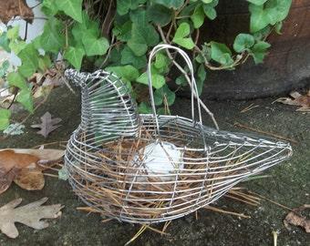 Vintage Egg Basket Wire Chicken Basket Rustic Chicken Coop Decor  Primitive Prairie Farmhouse French Country Cottage