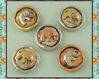 2 Hole Beads Elephant Circles ~ Rustic Finish ~ Bush Animal ~ 3T Metal Sliders QTY 5     (SKU 513716920)
