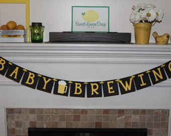 baby shower decorations decor beer brew BABY BREWING Banner daddy dad diaper