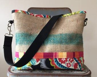 Recycled Burlap and Fabric Bucket Bag, OOAK, Handmade in Maine