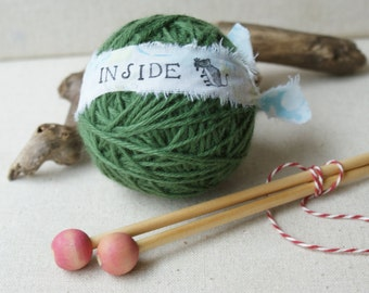 Surprise Yarn Ball- Sugar Mouse Dark Green and needles