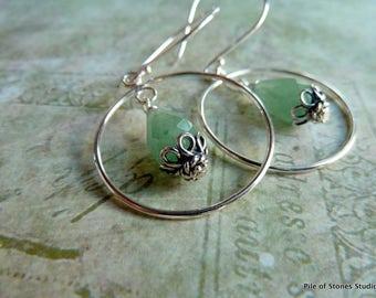 Gweneth* Gemstone & Sterling Earrings Bright Silver and Teardrop Green Jewelry Feminine Pastel Stone and Open Ring Dangle Earrings