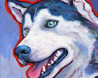 HUSKY Dog Portrait Original Art Painting on Canvas 6x8 by Lynn Culp