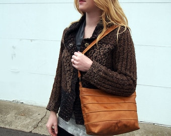 Shoulder Handbag Purse in Cognac Tan Full Grain Leather