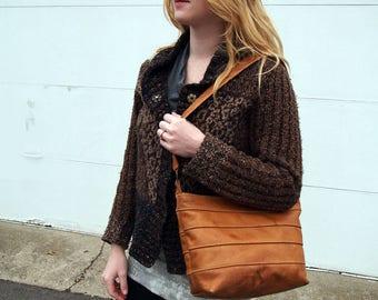 Shoulder Handbag Purse in Cognac Tan Full Grain Leather