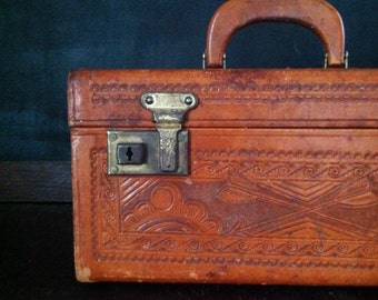 Vintage Train Case - 1950s Hand Tooled Leather Matador Train Case