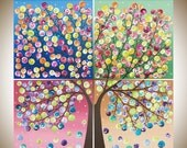 "rainbow color art large square art blue red yellow green purple magenta painting large wall art canvas art ""Tree of Life"" by qiqigaller"