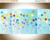 "Rainbow Color Spring Flowers painting large canvas art red yellow orange blue green violet wall art ""Happy Times II"" by QIQIGallery"