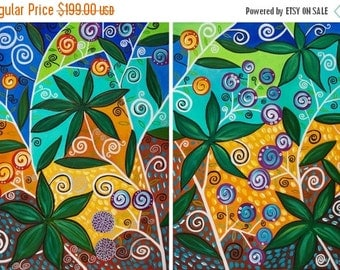 """Colorful Abstract painting 2 paintings blue green yellow purple Whimsical Oil painting Wall Art wall decor """"Fiesta"""" By qiqigallery"""
