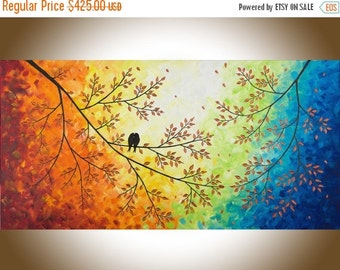 "Large wall art Colorful love birds art red yellow orange blue green purple canvas art wall decor ""Over the rainbow"" by qiqigallery"