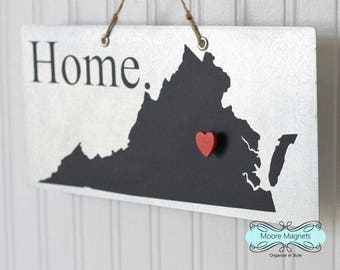 Virginia State Silhouette Home Sign Magnet board with Chalkboard State and Red Heart Magnet