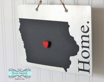 Iowa State Silhouette Home Sign Magnet board with Chalkboard State and Red Heart Magnet