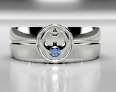 Star Wars Rebel Alliance Gold Wedding Ring, Gold Wedding Band with Blue Sapphire, Size 9 Ring Size 10 ring, Size 8 ring Mens Sapphire Ring