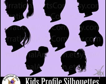 Kid Profile Silhouettes set 4 - with 8 EPS & SVG Vinyl Ready files and 8 PNG digital file with scl -  Boys and Girls [Instant Download]