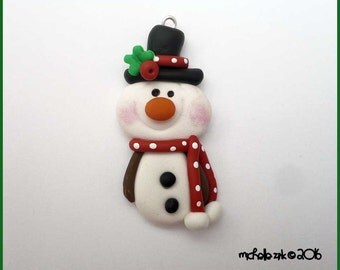 SALE Polymer Clay Top Hat Snowman Charm Pendant