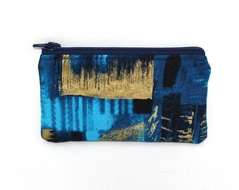 Pocket Zipper Case, Change Purse, Card Case, Coin Purse, Chasing the Rainbow Ocean Blue and Gold 4686