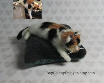 DEPOSIT for a CUSTOM pet portrait from photos for a Needle-Felted Miniature Cat on a Pincushion Pillow Sculpture (2316)