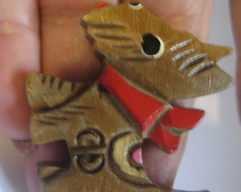40s Hand Carved Scottie Dog Pin Hand Painted Marked JAPAN on Pinback
