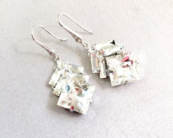 Arrow inspired Swarovski Rhinestone Bridal Earrings, Swarovski Bridal Earrings, embellished earrings, modern square style