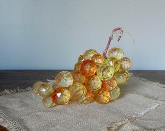 Vintage amber acrylic lucite grape grapes cluster - yellow champaign mid century modern