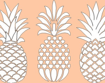 5 Inch tall Pineapple trio Iron on Decal Only for t shirt  tote bag or throw pillow measures 8 x 5
