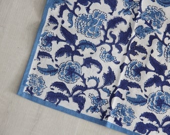 Set Of 6 Blue & White Chinoiserie Style FloralBlock Print Indian Cotton Napkins