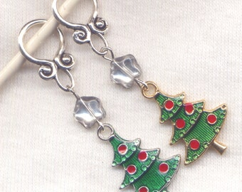 Christmas Tree Knitting Stitch Markers Xmas Christmas Trees Enameled Set of 2/SM138C