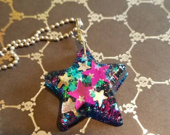 Pink and Blue Cosmic Star Resin Pendant Charm Glitter Jewelry Necklace