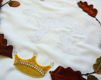 Ritual Burial: Bear, Hand Embroidery Art
