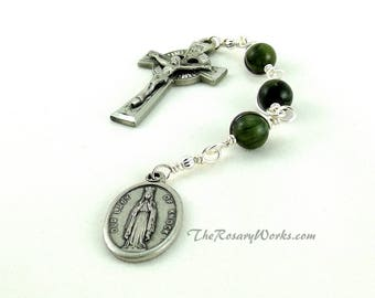 Irish Three Hail Mary Devotion Chaplet Celtic Dark Green Connemara Marble Our Lady of Knock Pewter Wire Wrapped Unbreakable Prayer Beads