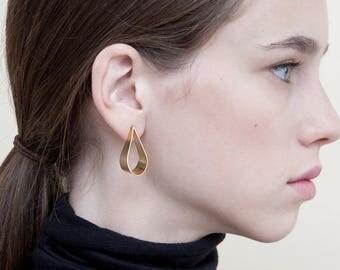 Minimalist Teardrop Earrings, 24K Gold Plated Silver Teardrop studs, Small Golden Drop Tear Studs, 24K Gold Plated Brass Drop Tear Earrings