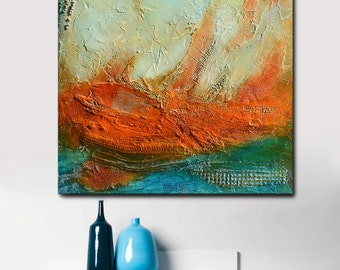 Abstract acrylic Painting on Canvas blue green red art original landscape, original gift, textural painting square painting ready to hang