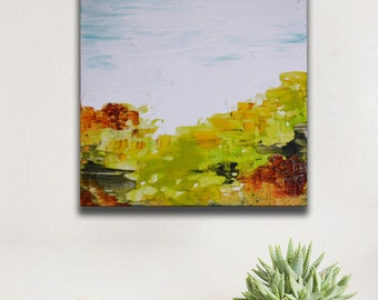 Small Abstract Painting, landscape green field, blue green art small square little painting canvas original gift idea