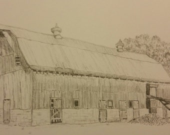 "Graphite Print of Vintage Rural Barn in Hamiliton, County, IN artist drawn, 5""x7"" matted print"