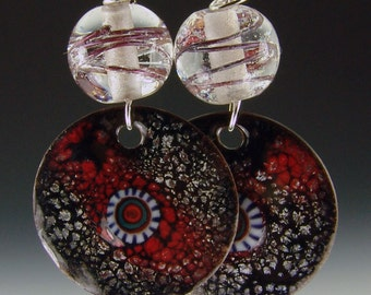 Lampwork beads with encased copper wire and big gorgeous matching enameled charms