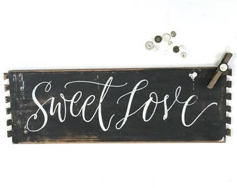 Wooden wall art decor - Sweet Love words - wall art - Photo Holder - hand lettered